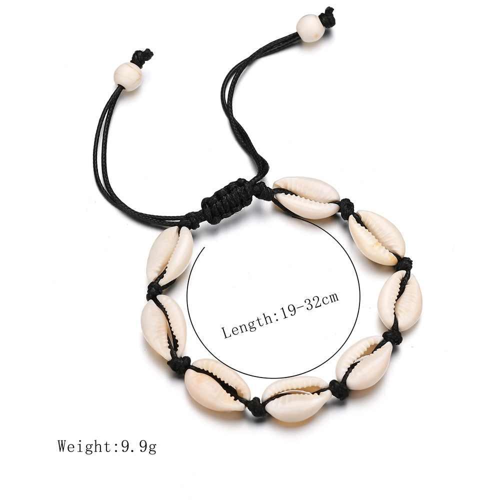 Богемная натуральная оболочка женские браслеты для щиколотки винтажная цепочка веревка ручной работы ножной браслет на ногу украшения для ног летние пляжные аксессуары