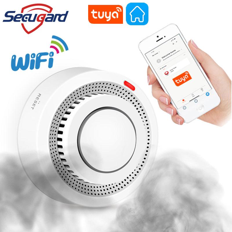 SECUGARD Tuya Smoke Detector WiFi Smoke Alarm Smart Security System Protect Your Property Smokehouse Combination Fire Alarm