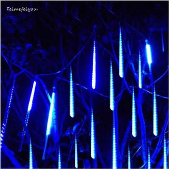 Lampki świąteczne 30cm 50cm 8 tuba Holiday Meteor Shower LED Fairy Garland Light String Outdoor wodoodporna dekoracja ogrodowa tanie i dobre opinie Feimefeiyou CN (pochodzenie) 1 year CHRISTMAS Z tworzywa sztucznego other Żarówki led Brak 220 v Klin 1-5 m WHITE Niebieski