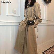 Long Trench Women Khaki Single Breasted All-match Sashes Adjustable Waist Womens