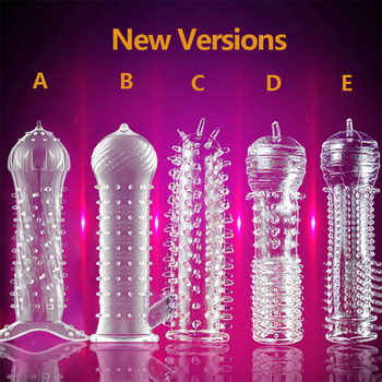 Sex Toy Silicone Reusable Condoms Time Delay Crystal Penis Rings Male Penis Extension Sleeves Cock Rings Adult Sex Toys for sex image