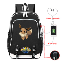 Pokemon Backpack Children Kid Casual Backpack Boys Girls School Bag Casual Backpack Travel Backpack USB Charging Laptop Backpack