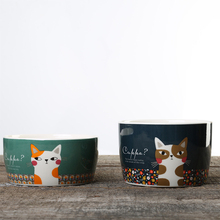 Cat Bowls Pet Food And Water Cartoon style Ceramic For Cats Dogs Pets Bowl Feeding Supplies YORO