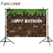 Funnytree il mio mondo Felice compleanno sfondo gioco Pixel del partito Del mostro Del Fumetto Sfondo fotografia In Studio Photocall Decor Banner