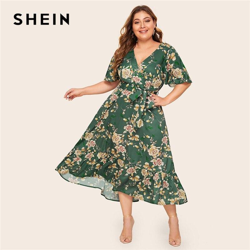 SHEIN плюс размер с рюшами и цветочным принтом подол обёрточная лента поясом длинное платье женское лето осень V шеи Высокая талия Fit и расклешенные Бохо платья|Платья|   | АлиЭкспресс - Плюс-сайз платья