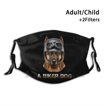 A Biker Dog - German Shepherd Bike Adult Kids Washable Funny Face Mask With Filter German Shepherd Bike German German Shepherd