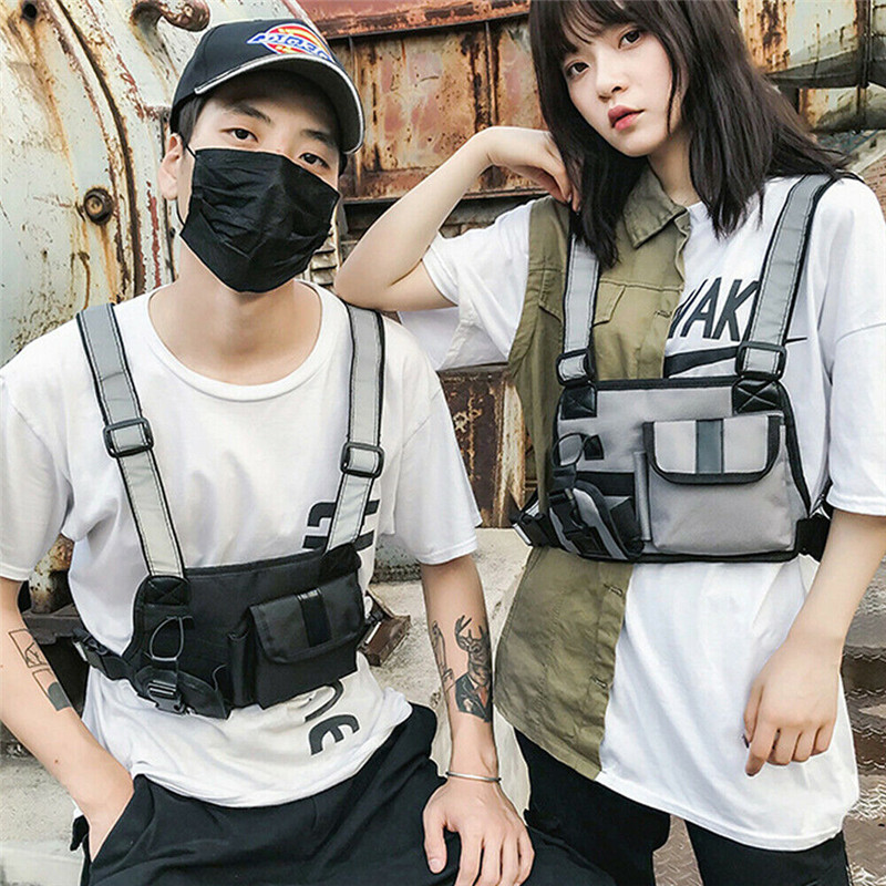 Nylon Chest Rig Bag Vest Hip Hop Streetwear Functional Tactical Harness Waist Packs