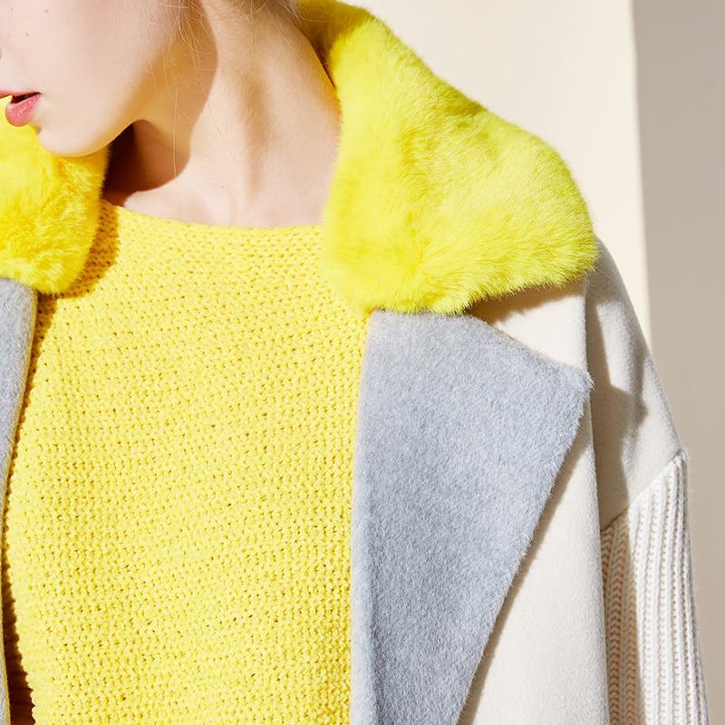 Vero Moda Women's New Stitching Color Matching Detachable Fur Collar Coat  318409504 13
