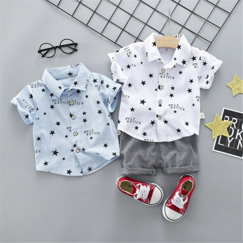 Infant Newborn Boy Two Pieces Set Short Sleeve Shirt Shorts Baby Boy Summer Outfit Sets Clothes