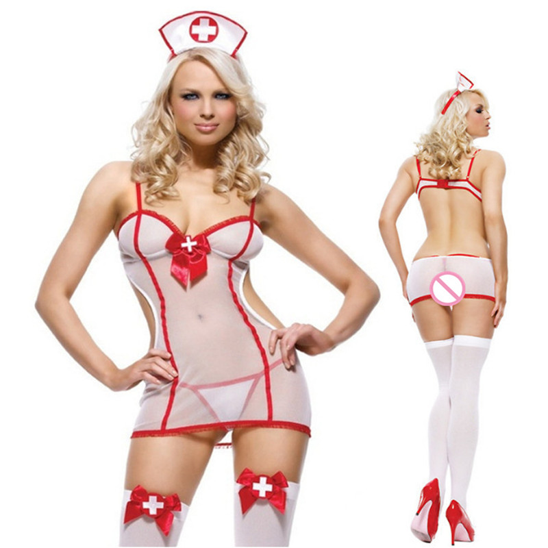 Sexy Lingerie Underwear Nurse Cosplay Uniform White Sexy See-throng Lingerie Suit Role Playing Hot Women Erotic Babydoll Dress