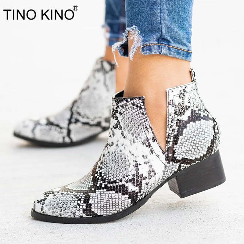 TINO KINO Autumn Snake Leopard Women Slip On Ankle Boots Ladies PU Middle Thick Heels Female Fashion Casual Plus Size Shoes