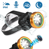 Headlight Video Camera Recorder and Light HD 1080P IP66 Waterproof 8 LED Lights for Outdoor Camping Hiking Sports So On