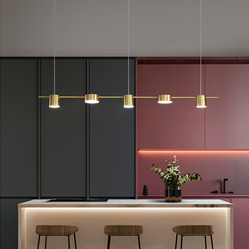 Minimalist Modern Luster Black Gold Long LED Chandelier For Bedroom Living Dining Room Restaurant Indoor Nordic Hanging Light
