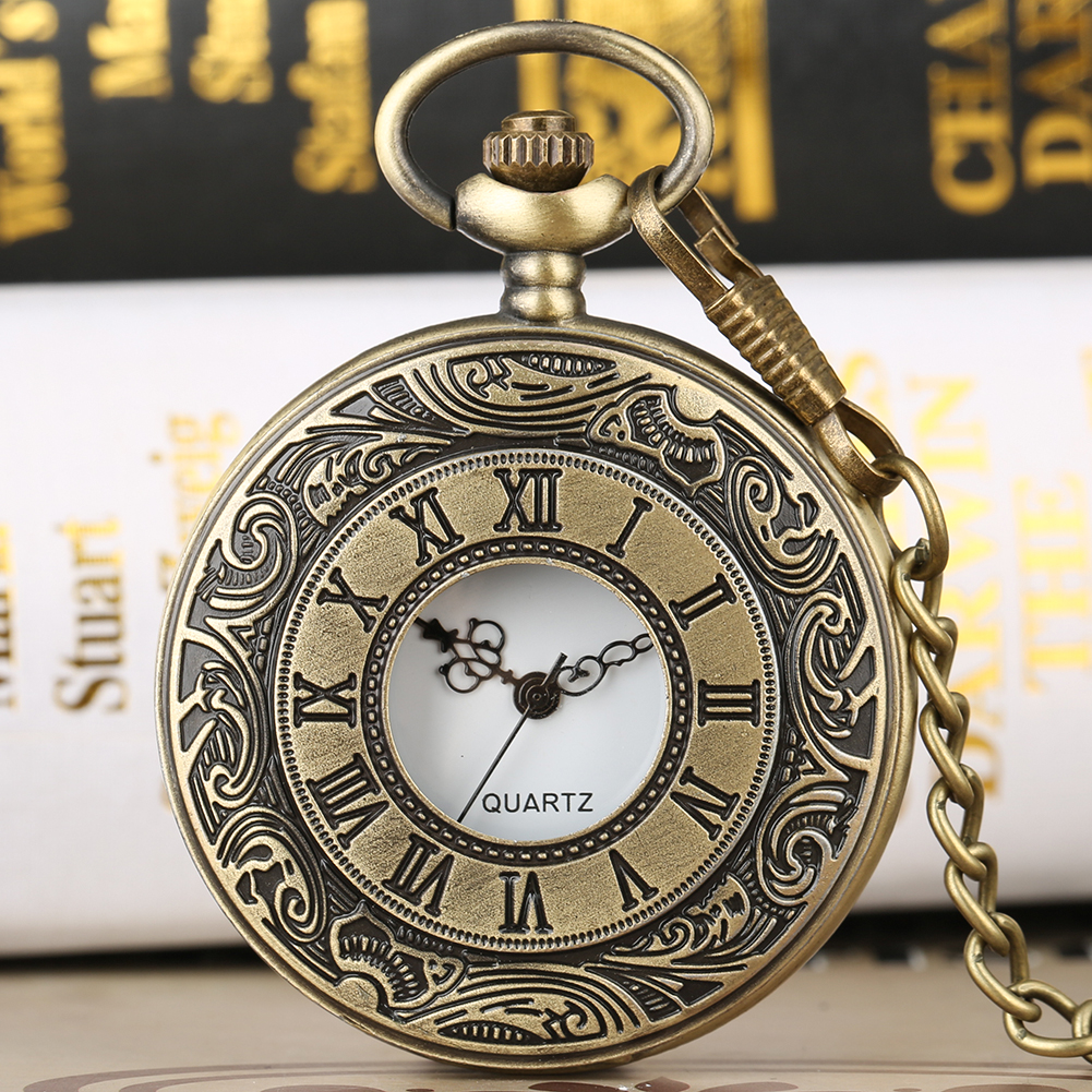 Vintage Bronze Big Quartz Pocket Watches Unisex Hollow Roman Number Cover Steampunk Clock Fob Chain Pendant Watches Best Gifts