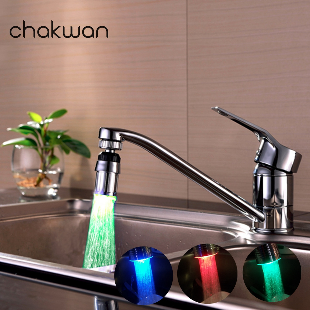 Swivel 3-Color Temperature Sensitive Gradient LED Shower Faucets Water Faucet Tap Sink Faucet For Kitchen And Bathroom