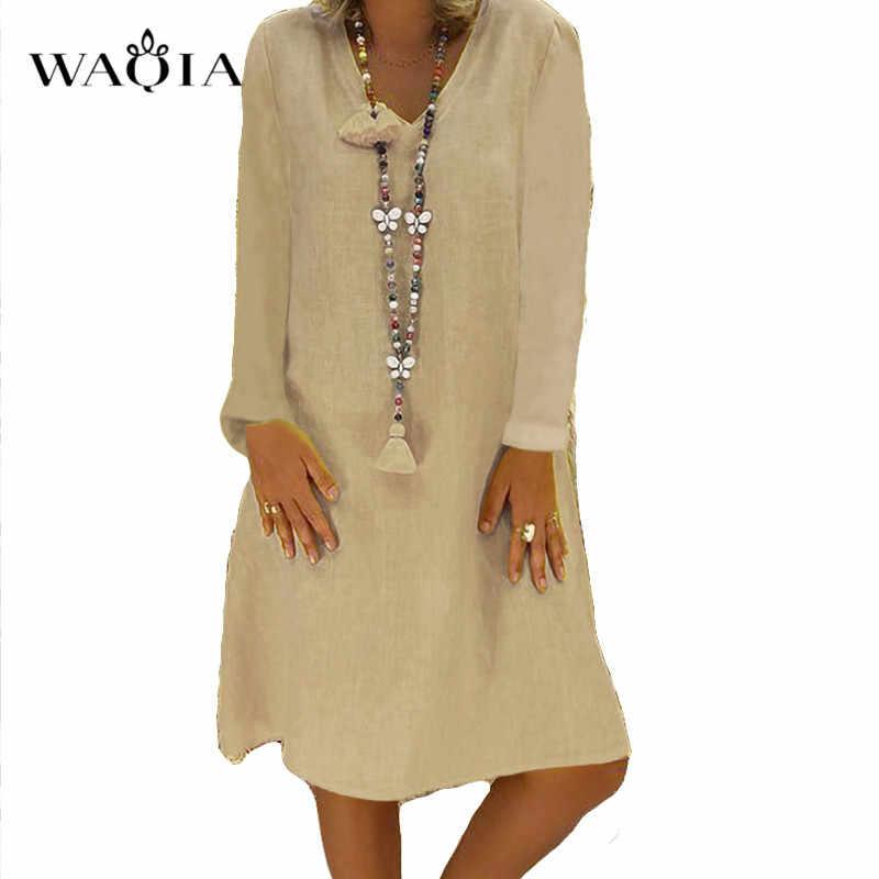 Женское платье с длинным рукавом, однотонное летнее платье с v-образным вырезом, 2019 хлопок, лен, повседневные платья Maxi, свободное пляжное платье бохо, плюс размер, 5XL, сарафан
