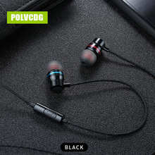 POLVCDG YH01 Black Music Mic 3.5mm HiFi Sports In-ear Headset Earbuds With Wheat Line Control Sub Woofer Earphones