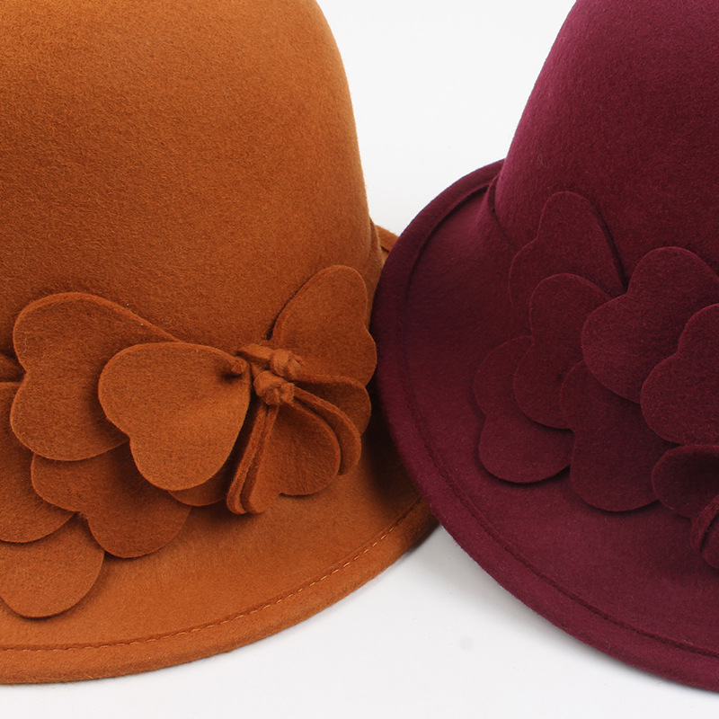 Wool Fedoras Women WInter Bucket hats Female Lady Floral Elegant Vintage Soft Warm Solid Color Lady Caps in Women 39 s Fedoras from Apparel Accessories