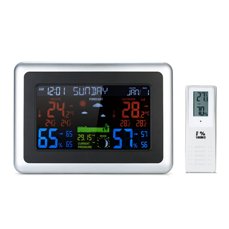Wireless Weather Station LCD Weather Forecast Indoor Outdoor Thermometer Hygrometer With Backlight Alarm Clock Calendar