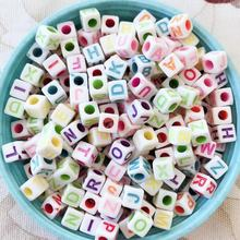100g Beads 7mm  Big Hole Handmade Colorful Letter Acrylic Beads for Jewelry Making DIY Accessorie Kids Jewelry Gift Retro Beaded 30pc 31x28mm multi colorful acrylic flower beads big hole six petals frosted flowers beads for jewelry making garment accessory