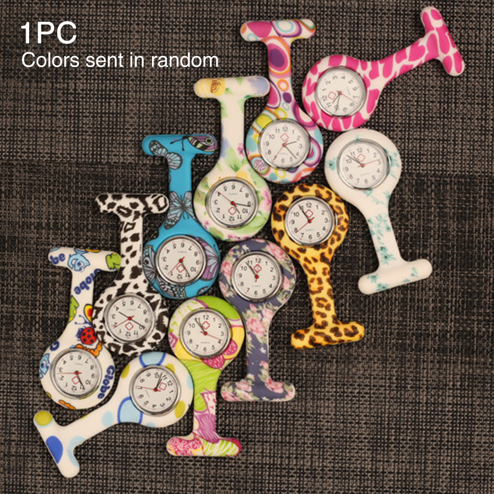 Brooch Round Dial Tunic Gift Waterproof Medical Staff Coloured Patterned Nurse Watch Accurate Silicone Pocket Mini Cute