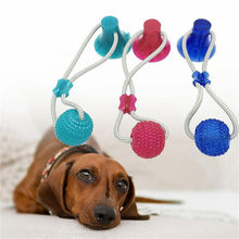 Multifunction Pet Molar Bite Dog Toys Rubber Chew Ball Cleaning Teeth Safe Elasticity Soft Puppy Suction Cup Dog Biting Toy(China)