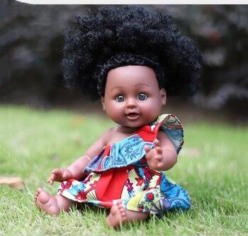 35CM Girl Baby African Black Girl Lifelike Dolls Floral Red Dress Toys For Kids Christmas Gifts Reborn Play Dolls цена 2017