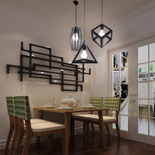цены Nordic retro creative geometry pendant Lights E27 200V loft simple personality single-head restaurant coffee shop iron light
