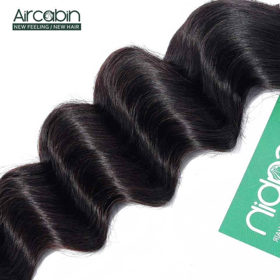 Aircabin cabelo solto onda profunda pacotes de cabelo peruano remy extensões do cabelo humano cor natural mais onda transporte rápido