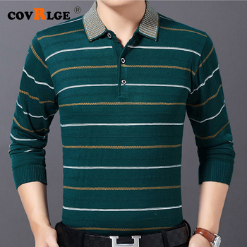 цена на Covrlge Men's Sweater Brand Casual Fitness Long Sleeve Men Poloshirt Jersey Striped Mens Polos Tee Shirts Dress Fashions MZM060