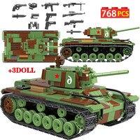 768 PCS Military Russia Soviet KV1 Heavy Tank Building Blocks Legoingly City WW2 Soldier Police Weapon Bricks Sets Toys for Boys