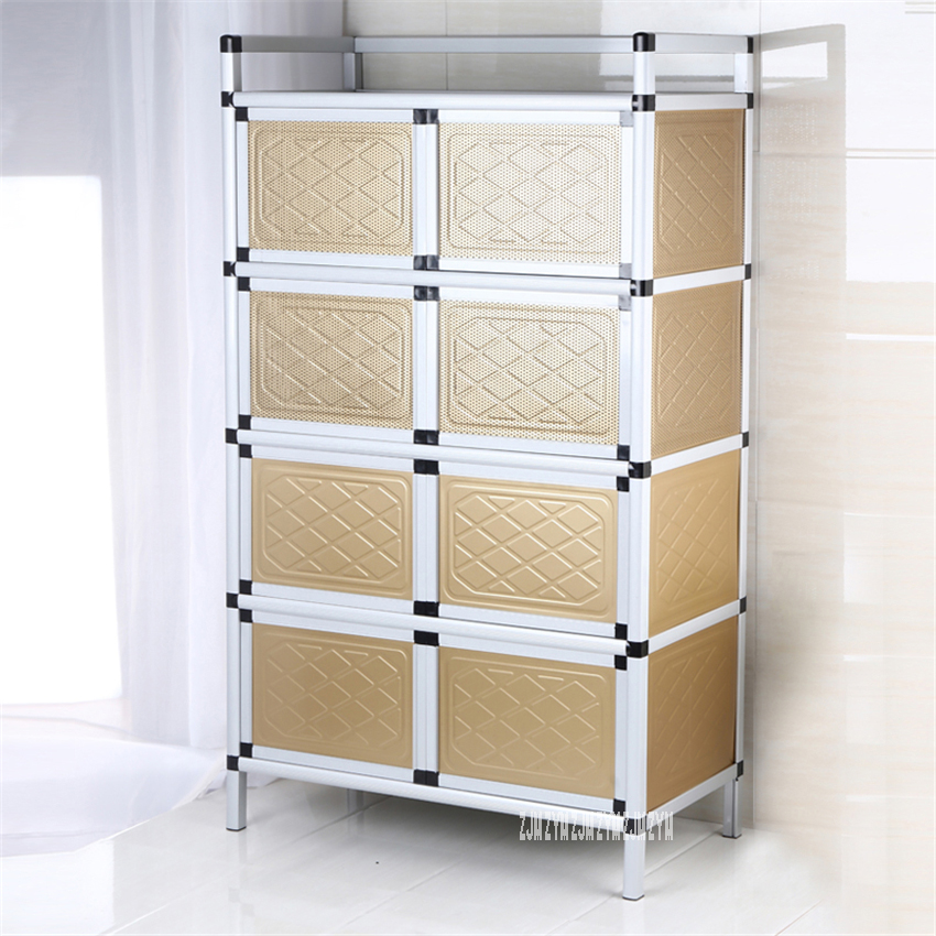 >Home Aluminum Alloy Sideboard <font><b>Kitchen</b></font> Furniture Side Table Storage <font><b>Cabinet</b></font> Multifunctional Simple Assembly Buffet Cupboard