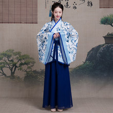 2020 New Chinese Ancient Clothing Female Traditional Dress Costume Classical Elegant Blue And White Porcelain Style Hanfu Dress(China)