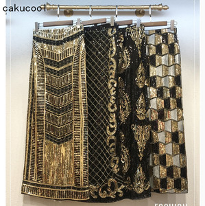 Cakucool Retro Black Sequined X Long Skirt Vintage Beading Pencil Skirt High Waist Golden Silm Bodycon Runway Back Slit Skirt(China)