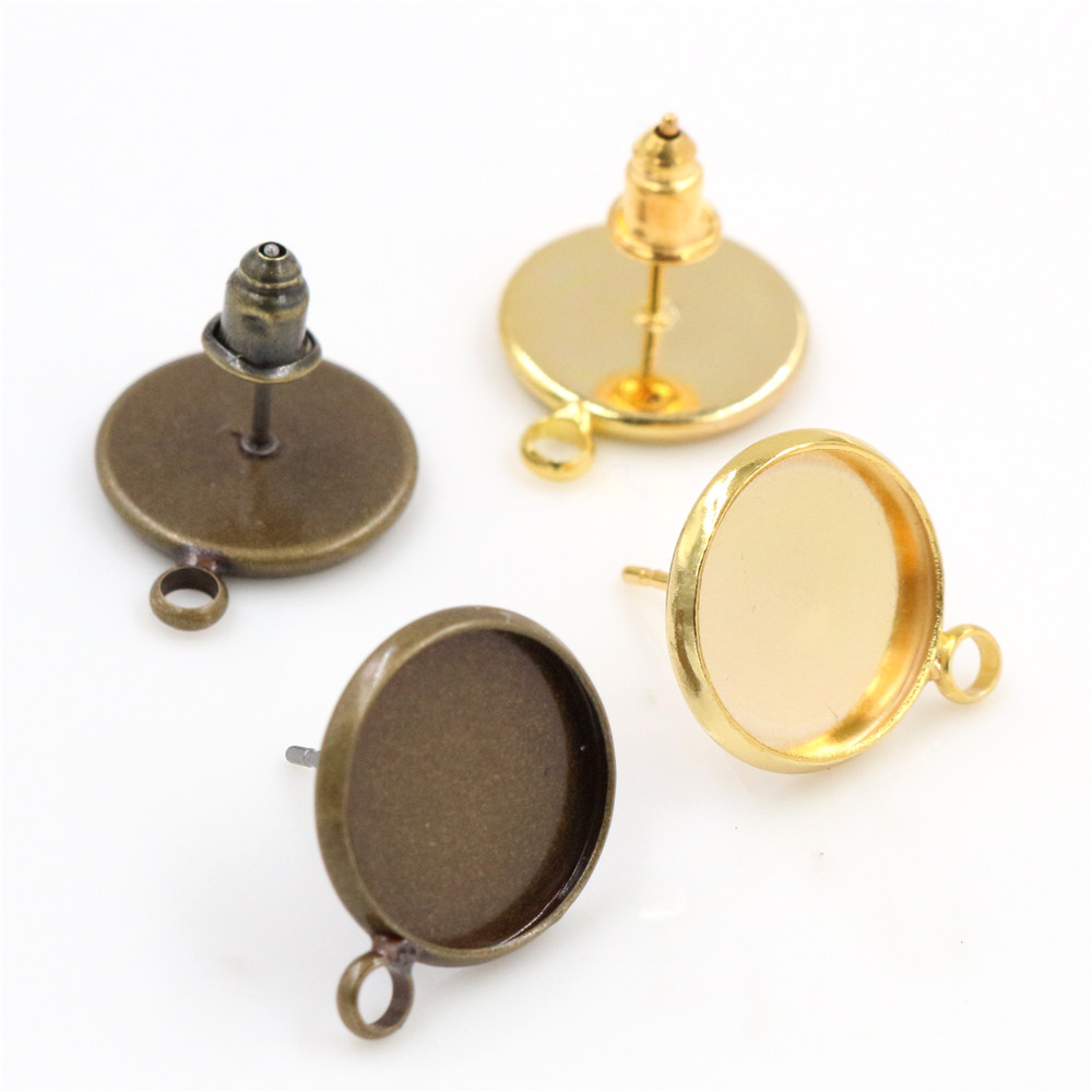 12mm 16pcs Antique Bronze And Gold Color Earring Studs,Earrings Blank/Base,Fit 12mm Glass Cabochons,Buttons;Earring Bezels