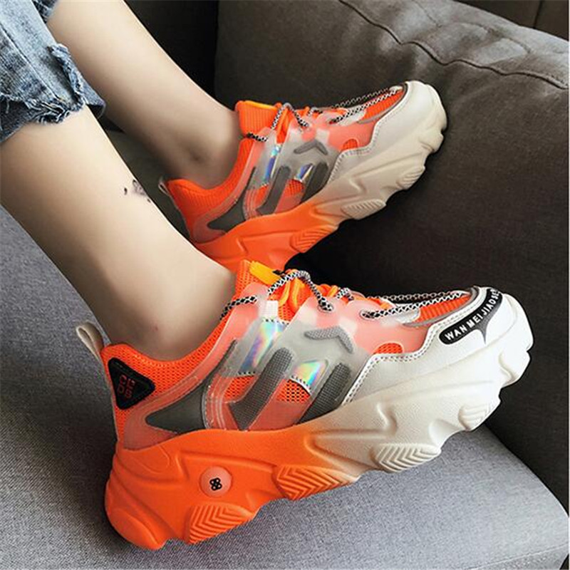 Women Chunky Sneakers Platform 5.5cm Thick Sole Ladies Casual Vulcanize Shoes Web Celebrity Dad Female Fashion Sneakers Designer