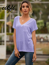 EIKFI Solid Front Pocket Basic Women Tee Tops Summer Ladies V Neck Short Sleeve White Pink Blue Casual Loose Tops and T-shirts
