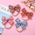 36 teil/los Neue Stickerei Haar Bogen mit Thin Nylon Stirnband oder Clip für Baby Mädchen Blume Nylon Stirnband Kid Baumwolle bögen Stirnbänder