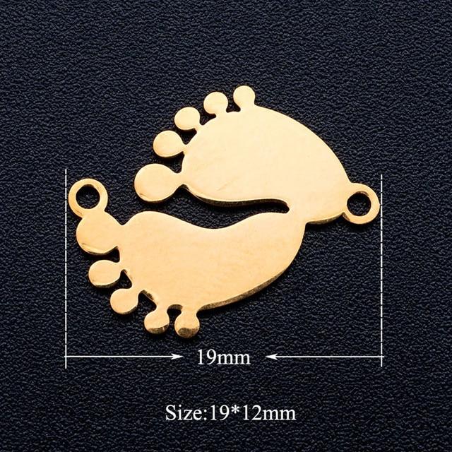 5 pièces/lot en acier inoxydable bébé fille garçon pieds bricolage collier/bracelet breloque pendentif en gros bijoux de charme bricolage artisanat à la main