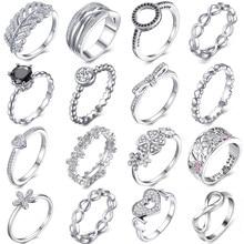 OCTBYNA-Anillo de plata con recipiente de Color para mujer, sortija Original apilable para fiesta, regalo de compromiso, joyería de boda