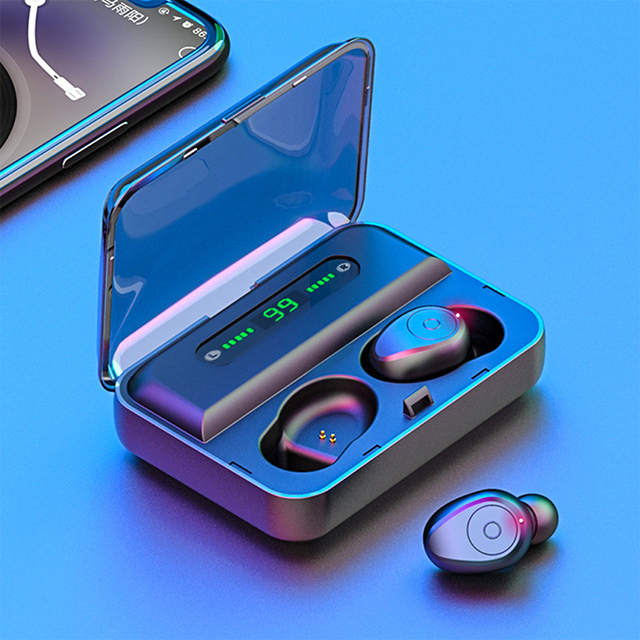 Led ディスプレイ 1200mA 電源銀行ワイヤレス Bluetooth 5.0 イヤホン防水イヤフォン 5D ステレオ Bluetooth すべてのスマートフォン
