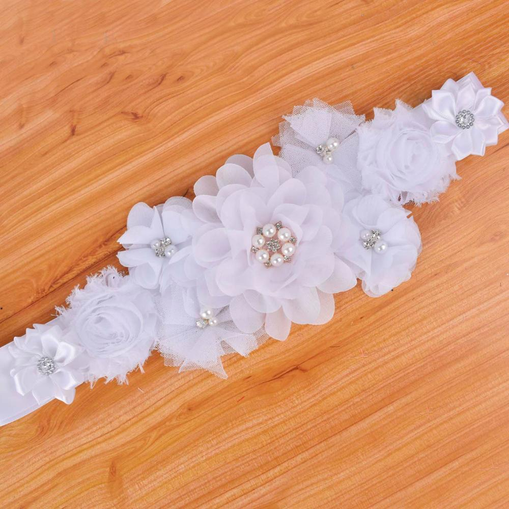 Fashion White Artifical Flower Sash Belt Women Pregnancy Floral Waistband Wedding Bridal Sash Girls Photo Props