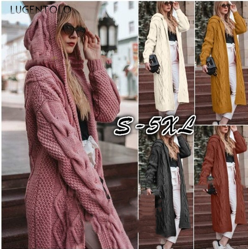 Lugentolo Sweater Knitted Cardigan Women Solid Long-sleeved Hooded Long Paragraph Autumn And Winter New 5 Color Plus Size 5XL