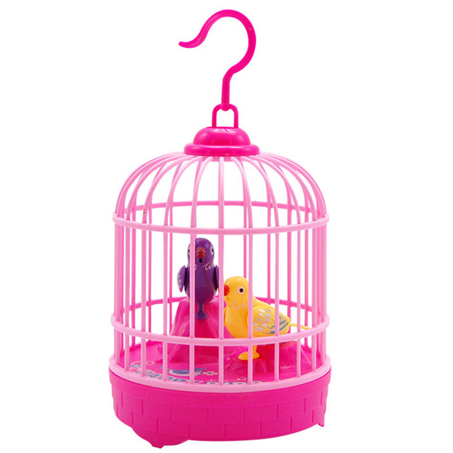 Mini Induction Sound Control Bird Cage Electric Birds Children Toy Gifts AN88