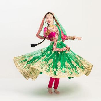 High Grade India Pakistan Salwar Kameez Dance Performance Dress Woman Beautiful Embroideried Sets