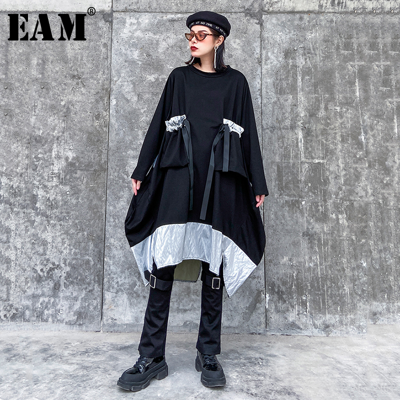 [EAM] Women Contrast Color Asymmetrical Big Size Dress New Round Neck Long Sleeve Loose Fit Fashion Spring Autumn 2020 1R475