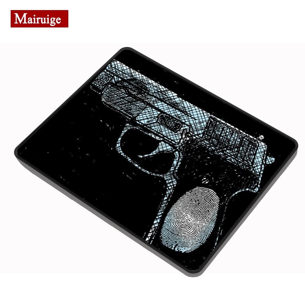 Отпечаток пальца шаблон пистолет черная ткань коврик для мыши