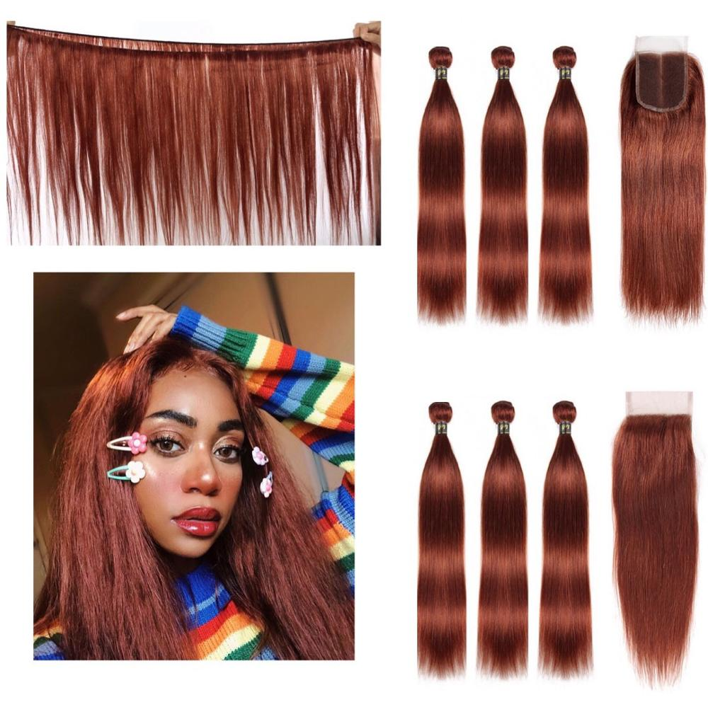 "Straight Human Hair 3 Bundles With Closure 4x4 Lace #33 Copper Red 8""-26"" M Brazilian Hair Weave Bundles Non-Remy IJOY"