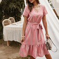 Summer Dresses Women 2021 V-neck Elegant Casual A-line Midi Dress Vintage Yellow Pink Stripe Lace-up Sundress Party Vestidos