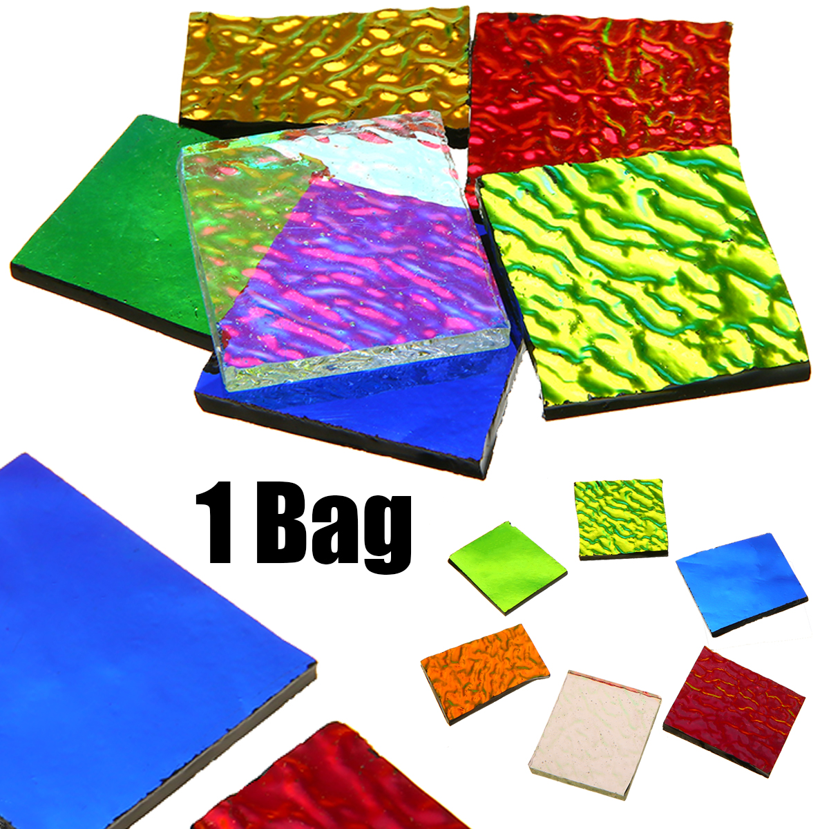 28g/bag COE90 Dichroic Glass Mix Color & Shapes Fusing In Glass Microwave Kiln Accessories For DIY Glass Jewelry Decoration